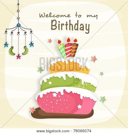 Kids Birthday celebration Invitation card design with delicious cake and mobile crib.