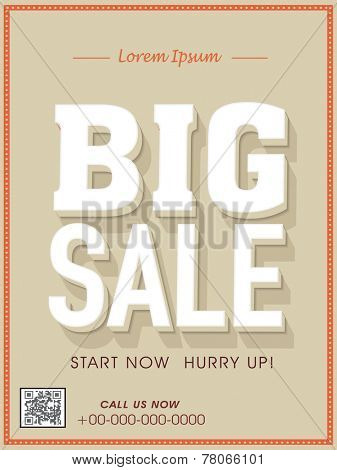 Big sale flyer, poster, banner or template.