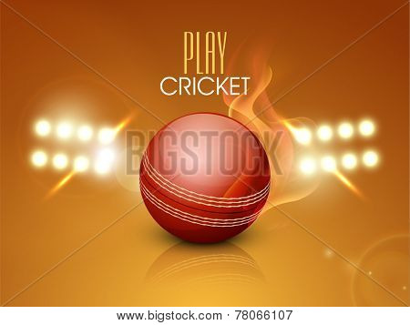 Night stadium lights with red glossy cricket ball in flame for cricket sports concept.