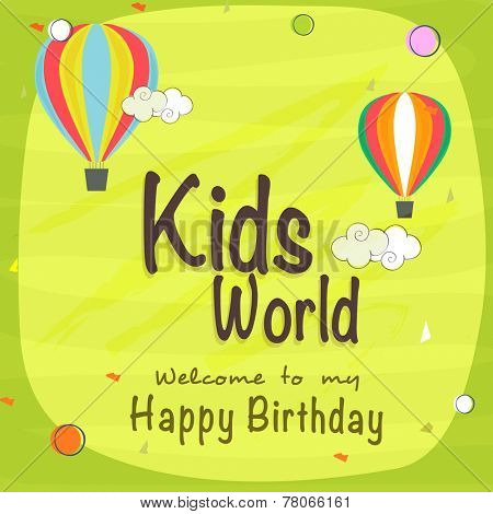 Kids Happy Birthday celebration Invitation card design with beautiful decoration.