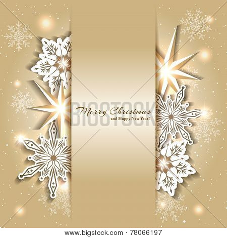 Sparkling Christmas Background With Snowflake