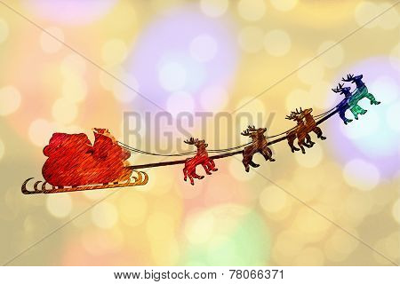 Greeting card cover of Santa Claus riding a sleigh led by reindeers