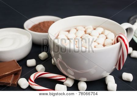 Hot Cocoa ingredients with candy cane and marshmallows