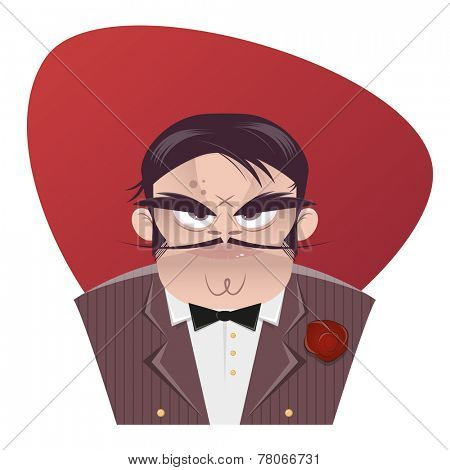 sinister cartoon mafia  boss