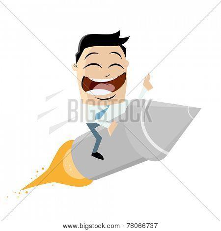 funny cartoon riding on a rocket