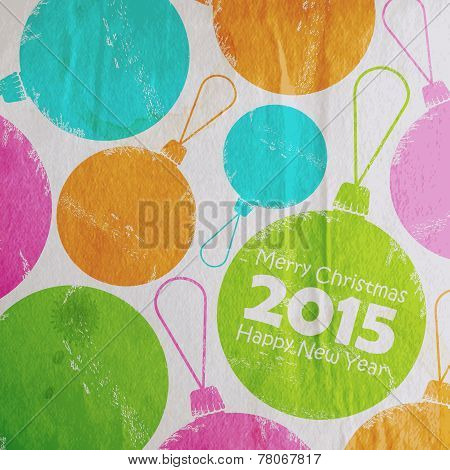 Abstract Christmas multicolored watercolor balls in flat style. oliday vector illustration with old