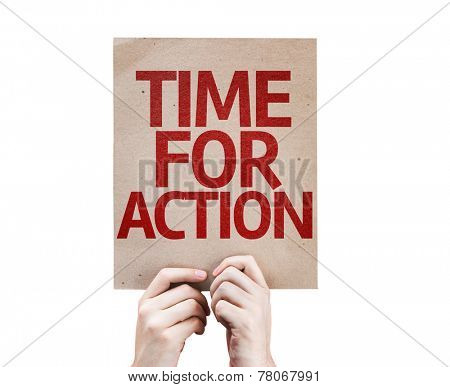 Time For Action card isolated on white background