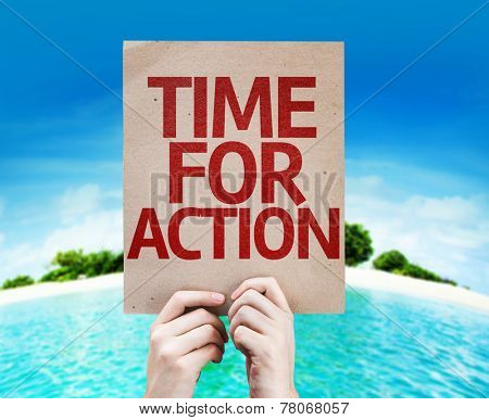 Time For Action card with a beach on background