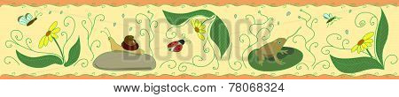Frieze With Insects On Yellow  Background