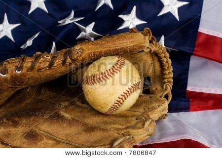 Baseball And American Flag