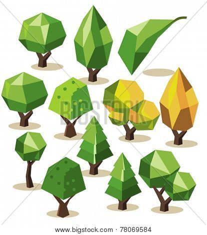 Tree Isometric set. vector illustration