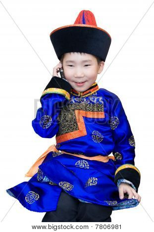 Mongol Boy With Cell Phone