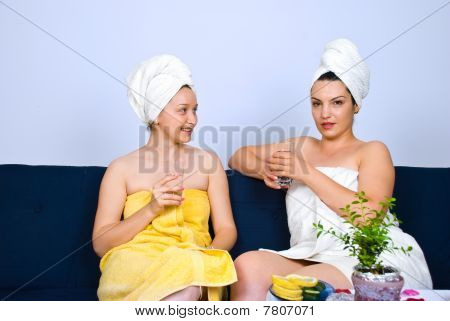 Women At Spa Having Conversation