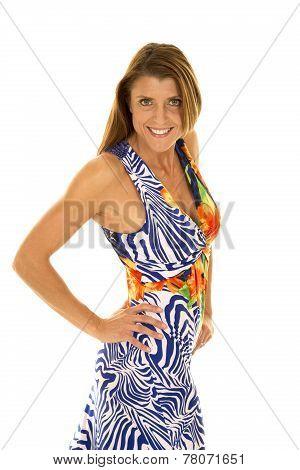 Woman In Hawaiin Dress Side Look