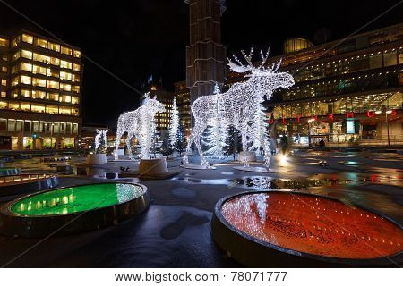 Christmas Elks Made Of Light