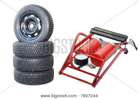 Car Wheels And Pump