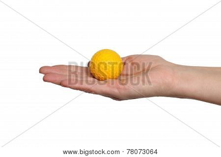 Golf Ball In Hand On White Background