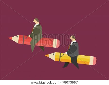 Men saddled pencils concept