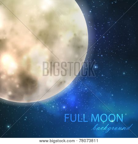 vector illustration of  full moon on the night starry sky background