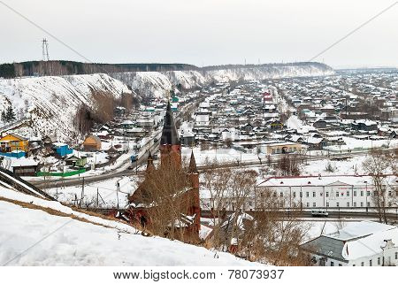 Panin hillock. Down town of Tobolsk. Winter.Russia