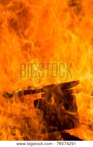 Flames From Burning Pallets