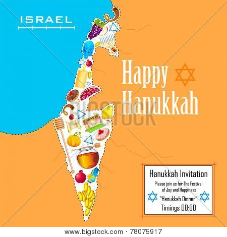 illustration of holy object forming map of Israel in Hanukkah background