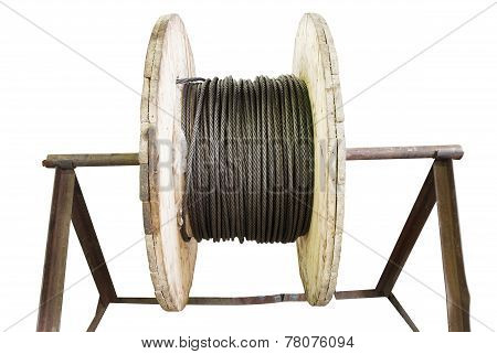Industrial Wooden Reel With Steel Rope Isolated