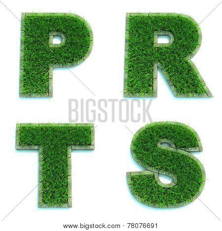 Letters P, R, T, S as Lawn - Set of 3d.