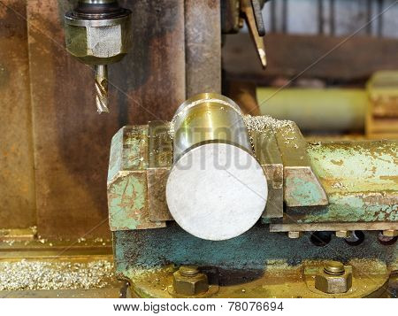 Workpiece And Drill Of Boring Machine Close Up