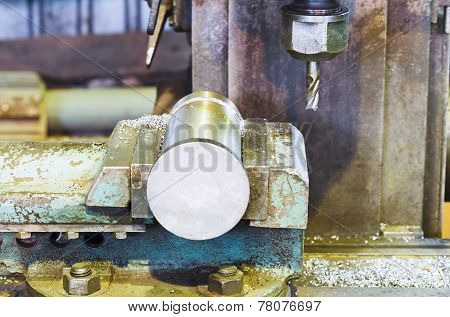 Metal Part And Drill Of Boring Machine Close Up