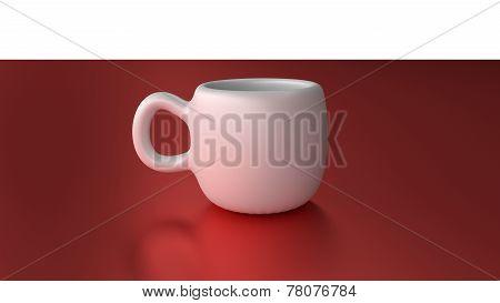 White mug cup on red desk