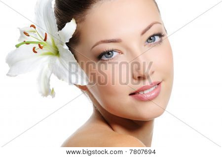 Portrait Of A Beautiful Woman Face With Health Skin