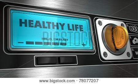 Healthy Life on Display of Vending Machine.