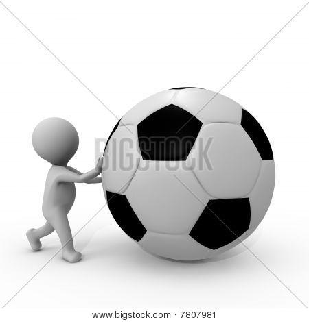 Human pushing a soccer ball - a 3d image