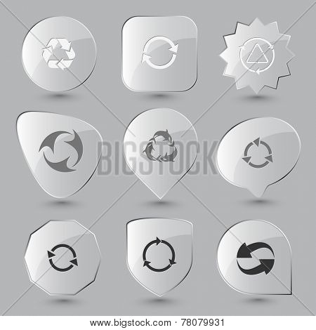 Recycle symbols set. Vector glass buttons.