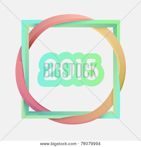 Digitally generated Interlocking square and circle with 2015