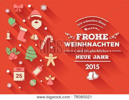 Digitally generated Frohe weihnachten message with christmas icons
