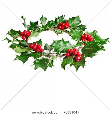 Christmas decoration wreath of natural leaves and berries holly ilex plant isolated on white background