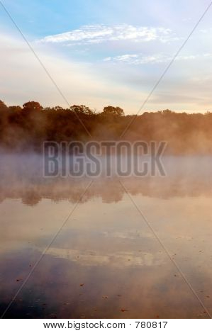 Mist on Mississippi river