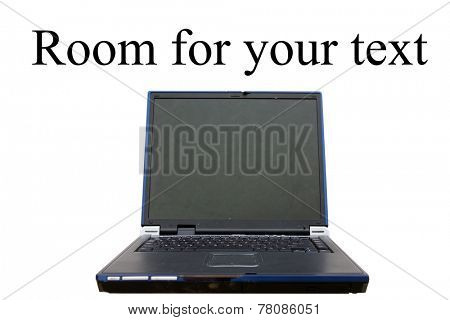 Modern glossy laptop isolated on white with room for your text. Laptop Computers are an important part of any business or home and have become an invaluable tool for homework or business
