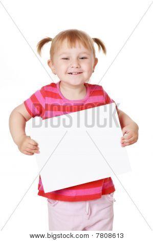 Kleines Mädchen mit Tafel