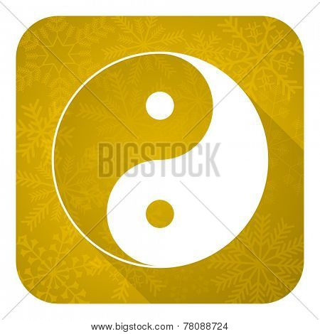 ying yang flat icon, gold christmas button