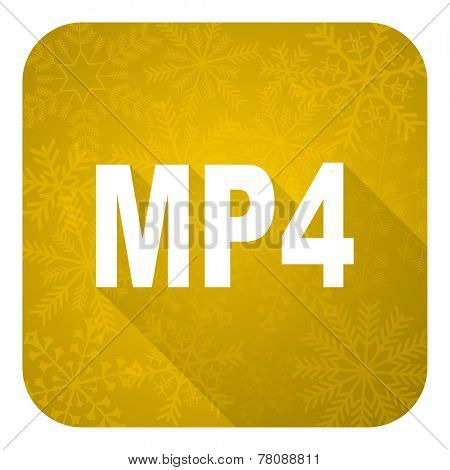 mp4 flat icon, gold christmas button