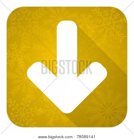 download arrow flat icon, gold christmas button, arrow sign