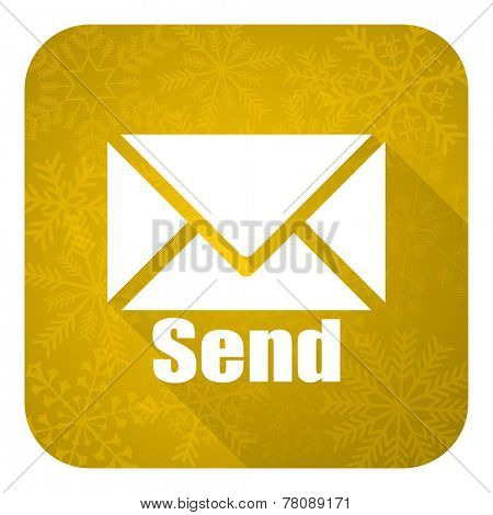 send flat icon, gold christmas button, post sign