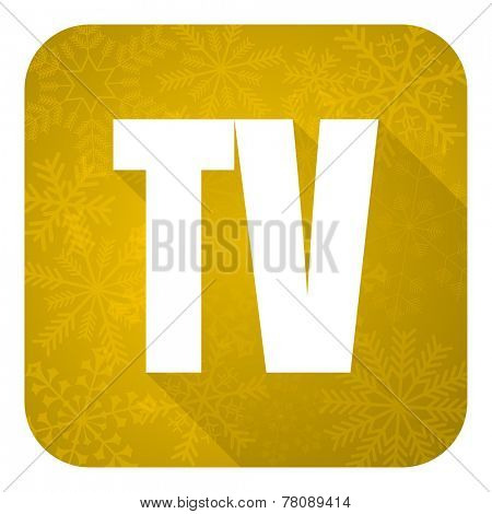 tv flat icon, gold christmas button, television sign
