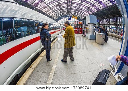 People Hurry To The Intercity Train