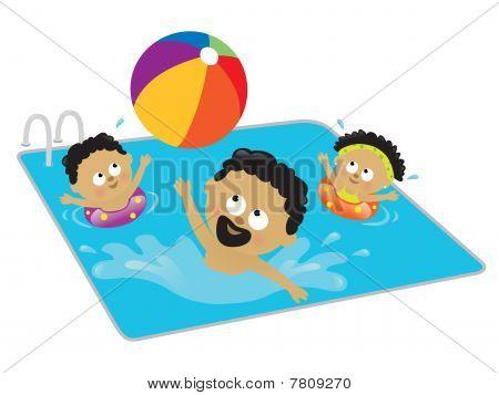 Pai e filhos brincando em uma piscina (americano Africano)