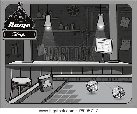 Illustration of cowboy bar