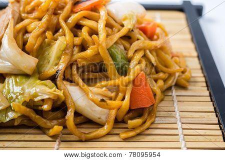 Yakisoba Japanese Food On A White Background.